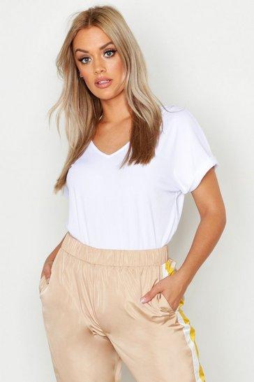 White Plus Basic Rib Oversized T-Shirt