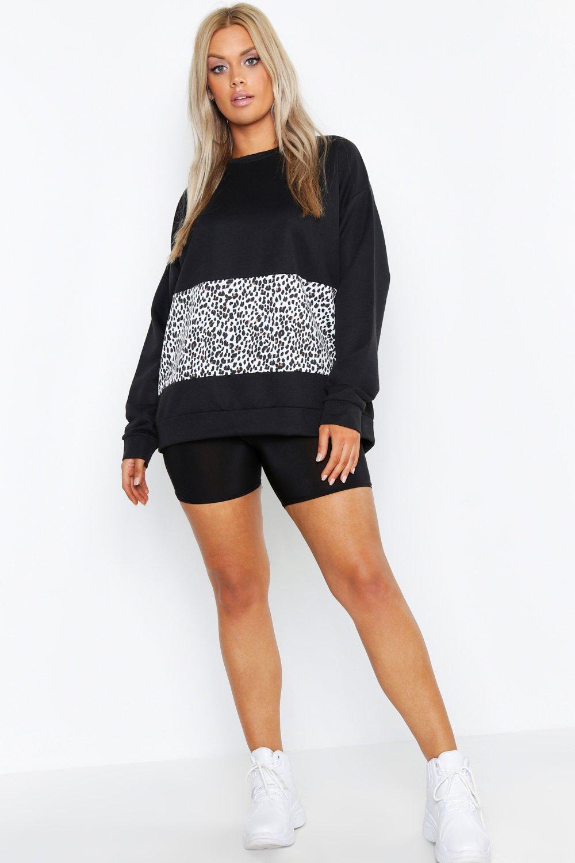 Womens Übergroßes Sweatshirt mit Netzeinsatz und Leoparden-Print - schwarz - 42, Schwarz - Boohoo.com