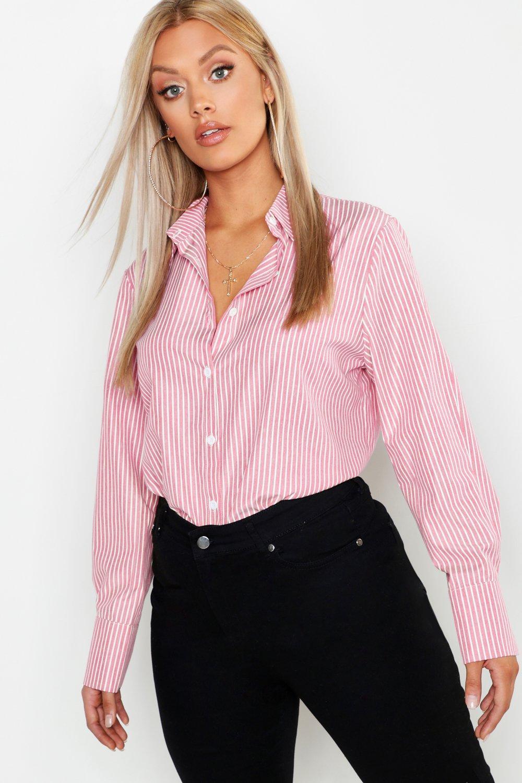 Womens Plus übergroßes Boyfriend-Hemd aus Baumwolle mit Streifen - rot - 42, Rot - Boohoo.com