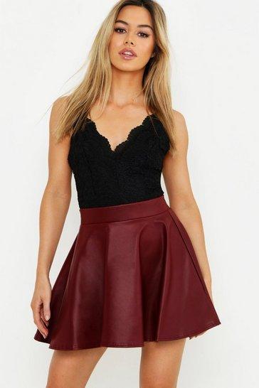 Berry Petite PU Skater Skirt