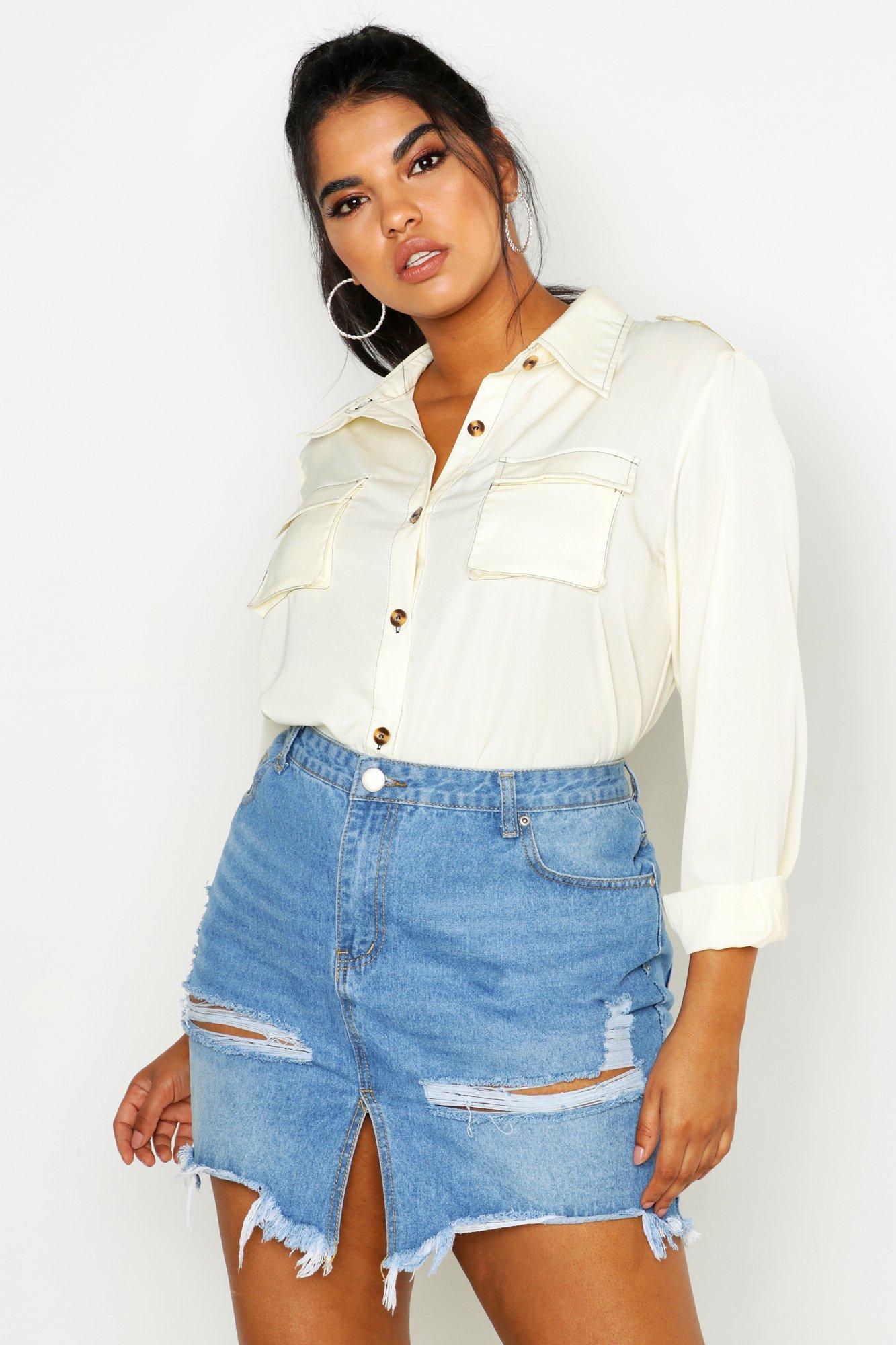 Womens Plus übergroßes Utility-Hemd aus Webstoff mit Kontraststickerei - ecru - 42, Ecru - Boohoo.com