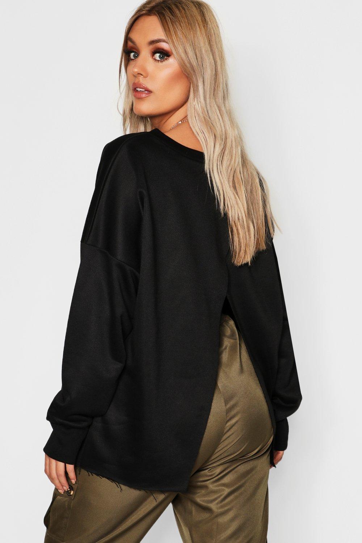 Womens Plus Sweatshirt-Oberteil mit Seitenschlitz - schwarz - 50, Schwarz - Boohoo.com