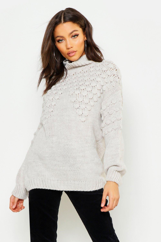 Womens Petite grobgestrickter Pullover mit Rollkragen - creme - M/L, Creme - Boohoo.com