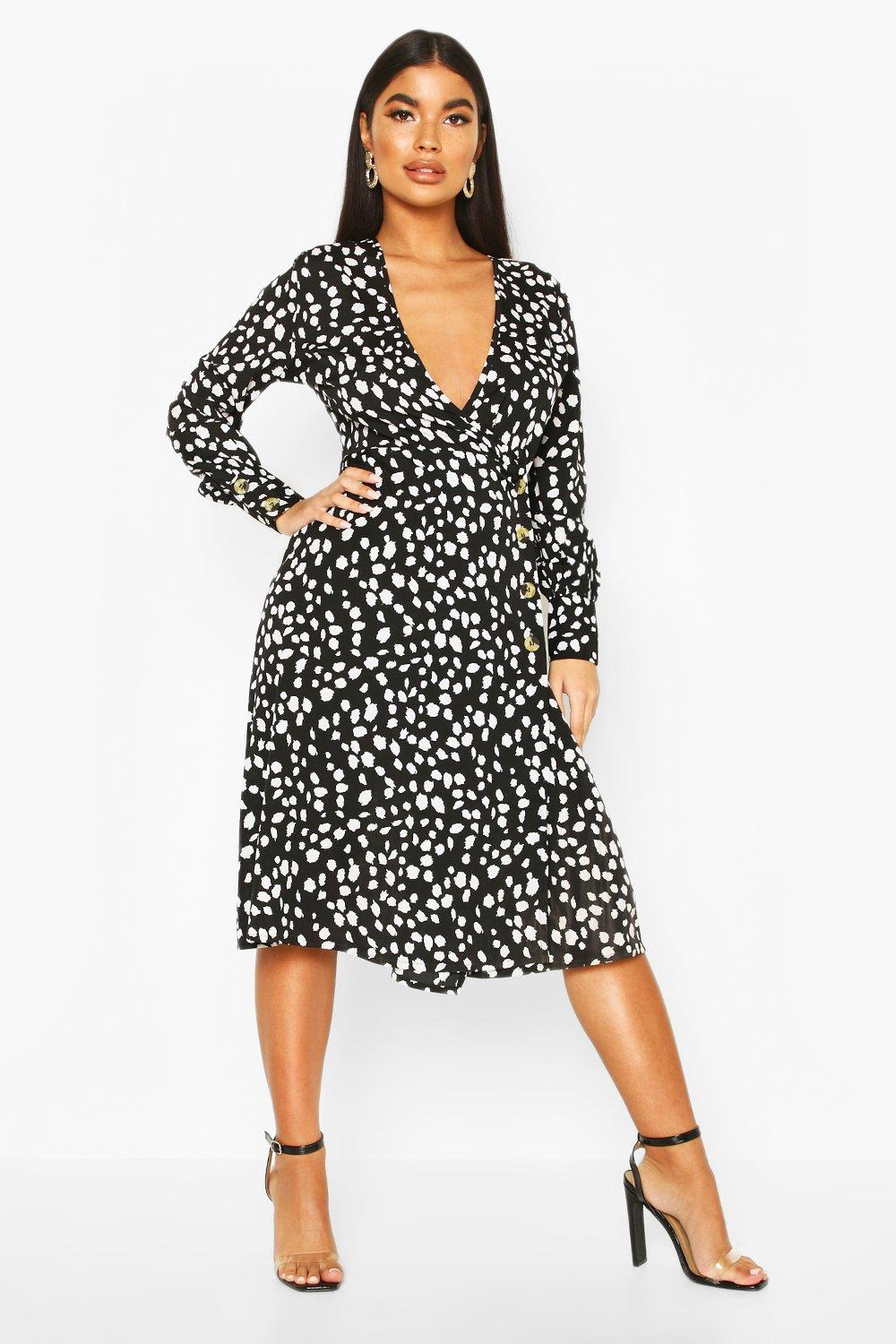 boohoo Womens Petite Red Dalmatian Print Button Midi Dress - Black - 12, Black