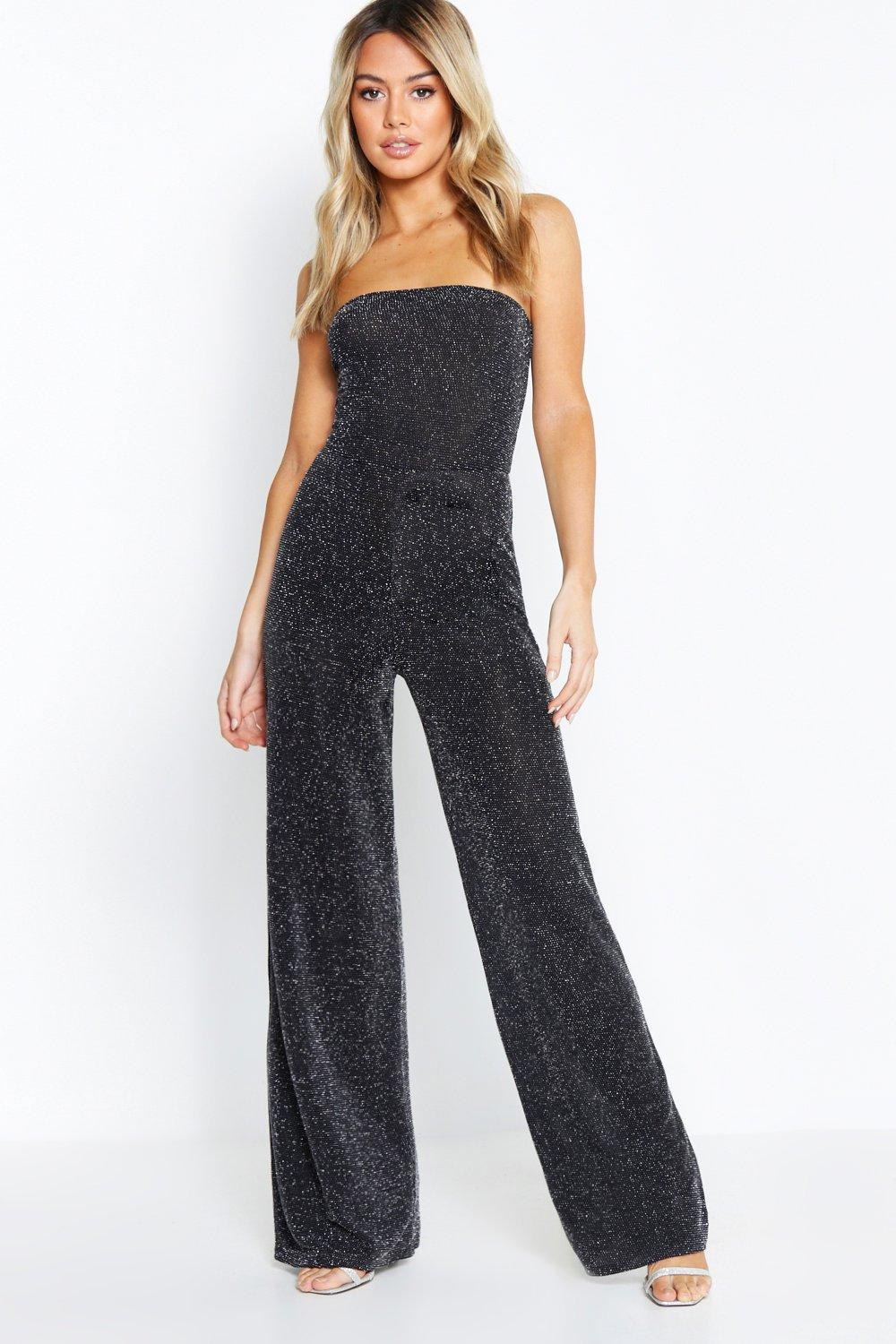 boohoo Womens Petite Strapless Wide Leg Sparkle Jumpsuit - Black - 14, Black