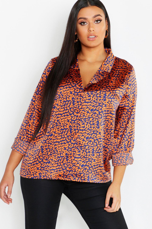 Womens Plus Hemd mit buntem Animal-Print und Reverskragen - orange - 44, Orange - Boohoo.com