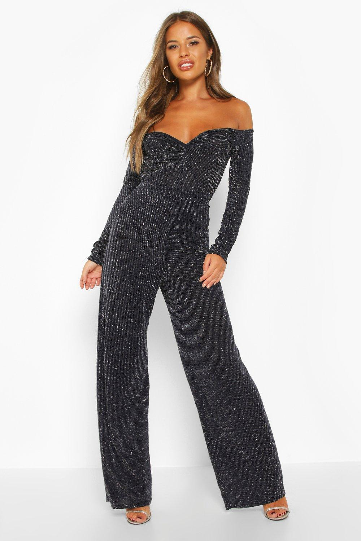 Trousers, Petite Широкие брюки с блестками, boohoo  - купить со скидкой