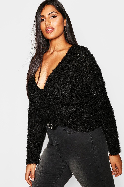 Womens Plus Pullover aus flauschigem Strick mit Wickelfront - schwarz - 42, Schwarz - Boohoo.com