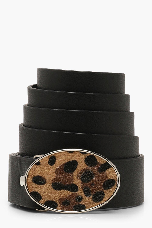 Купить Accessories, Плюс сайз - Ремень из искусственного меха с леопардовым принтом с пряжкой, boohoo