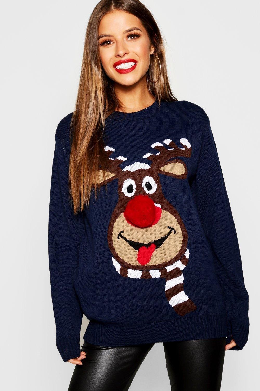 Womens Petite Weihnachts Pullover mit Rentier und Bömmelchen - marineblau - S/M, Marineblau - Boohoo.com