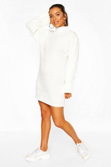 Ivory Petite Oversized Rib Knit Jumper Dress