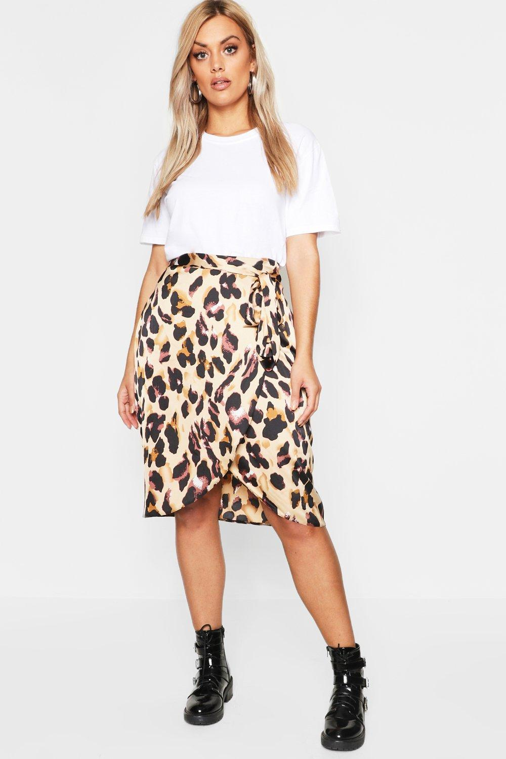 boohoo Womens Plus Leopard Satin Ruffle Wrap Skirt - Brown - 18, Brown