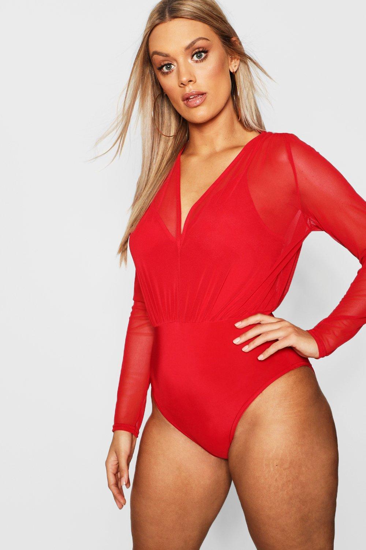 Womens Plus 2 in 1 Body aus Netzstoff mit schmalen Trägern - rot - 50, Rot - Boohoo.com
