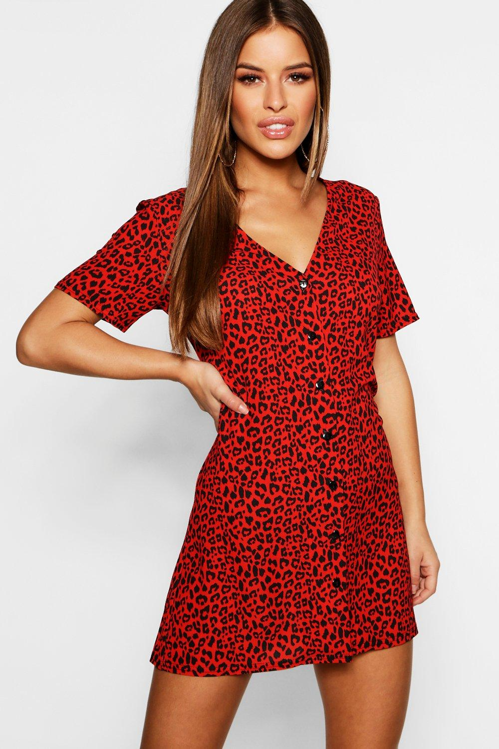 boohoo Womens Petite Leopard Print Button Shift Dress - Red - 12, Red