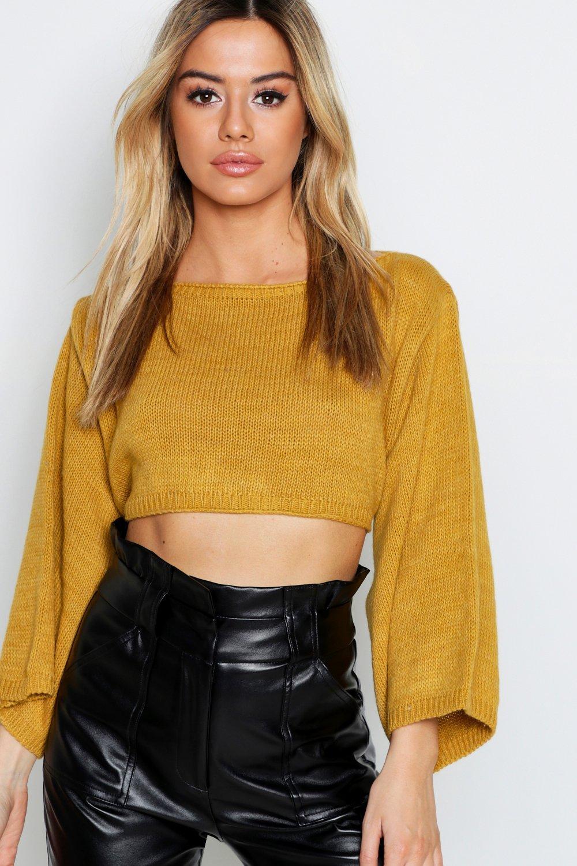 Womens Kurzer Pullover mit weiten Ärmeln - senfgelb - M/L, Senfgelb - Boohoo.com