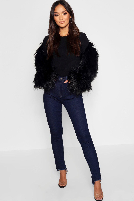 Купить Jeans, Petite прямые джинсы с высокой посадкой Jean с неровным нижним краем, boohoo