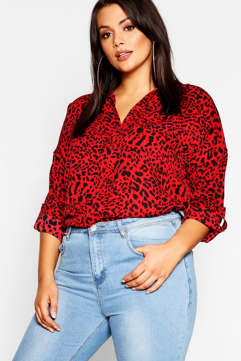 Womens Plus Rotes Oversized Hemd in Leopardenmuster - 42, Rot - Boohoo.com