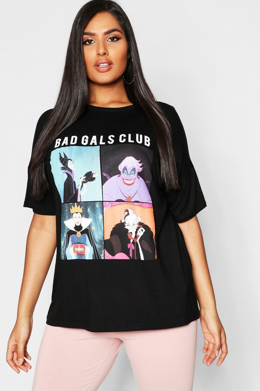 "Womens Plus - Disney ""Bad Gals Club""-T-Shirt - Schwarz - 42, Schwarz - Boohoo.com"