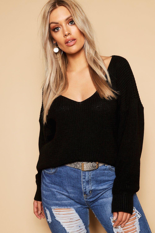 Womens Plus Oversized Pullover mit V-Ausschnitt - schwarz - 42, Schwarz - Boohoo.com
