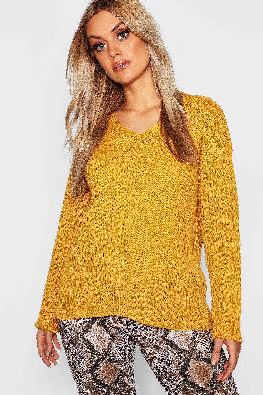 Womens Plus lässiger Pullover mit V-Ausschnitt - senfgelb - 48, Senfgelb - Boohoo.com