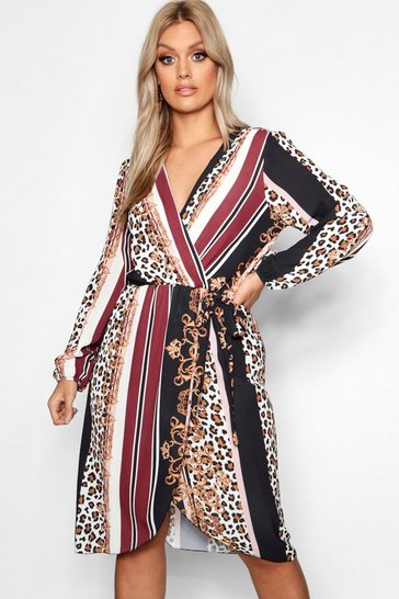 Black Plus Chain Mixed Print Wrap Midi Dress