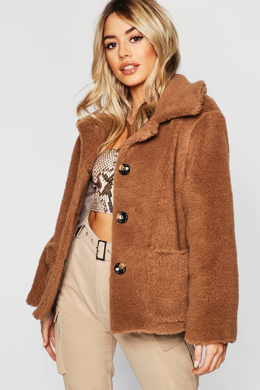 Купить Coats & Jackets, Petite Button Front Teddy Coat, boohoo