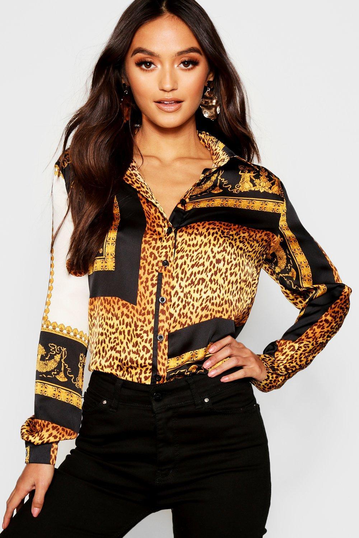 Womens Petite Oversized Hemd mit Ketten-Print - schwarz - 36, Schwarz - Boohoo.com