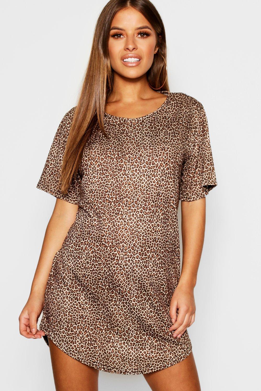 Купить Nightwear, Petite - ночная сорочка футболка с леопардовым принтом, boohoo