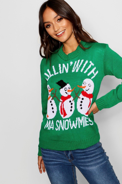 Womens Petite Weihnachts-Pullover mit Snowman Slogan - grün - S/M, Grün - Boohoo.com