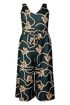Plus Chain Printed Culotte Jumpsuit