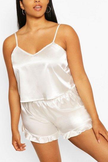 Ivory Plus Satin Ruffle Cami Pyjama Set