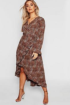 Plus Wrap Leopard Midi Dress