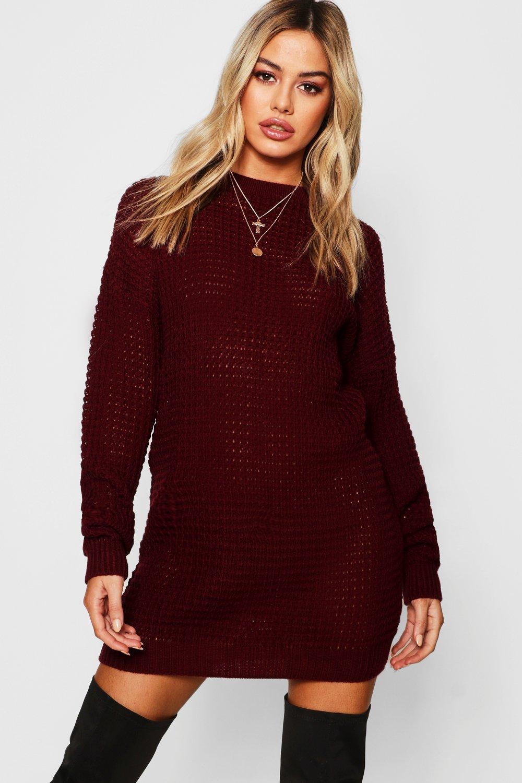 Купить Dresses, Petite - платье свитер оверсайз из трикотажа с вафельной текстурой, boohoo