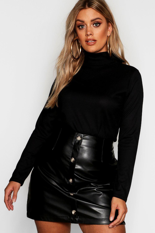 Womens Plus Pullover Mit Rollkragen - Schwarz - 42, Schwarz - Boohoo.com