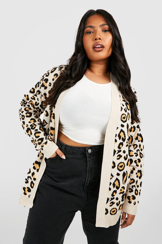 Womens Plus übergroßer Cardigan aus Strick mit Leoparden-Print - kamelhaarfarben - 48-50, Kamelhaarfarben - Boohoo.com