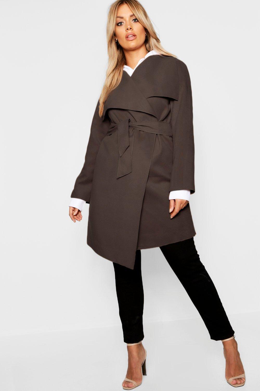 Купить Coats & Jackets, Плюс сайз - пальто с запахом спереди и с эффектом шерстяной ткани, boohoo