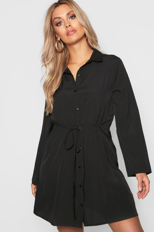 Womens Plus Blusenkleid mit Tunnelzug - schwarz - 50, Schwarz - Boohoo.com