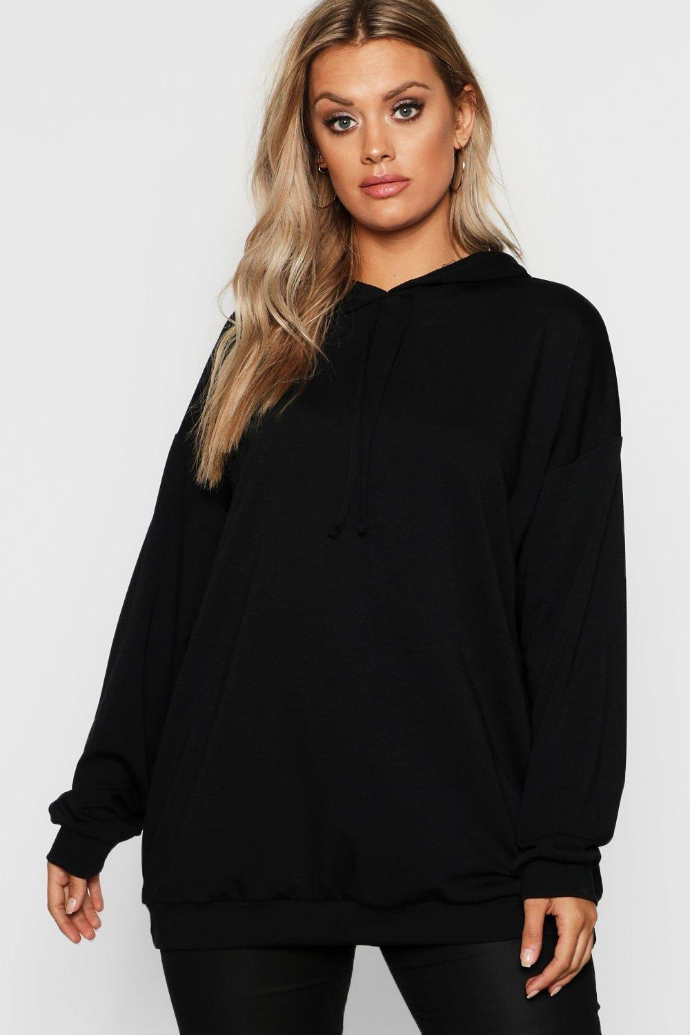 boohoo Womens Plus Oversized Hoody - Black - 16, Black