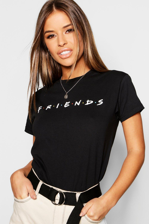 Womens Petite lizenziertes Friends T-Shirt - schwarz - L, Schwarz - Boohoo.com