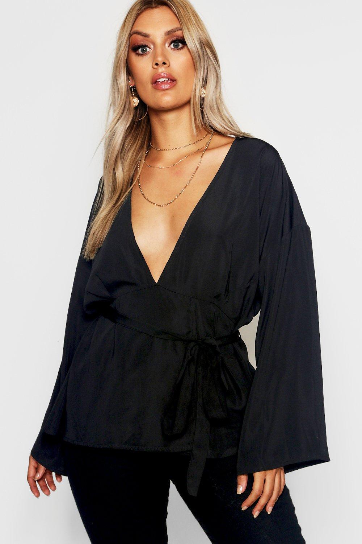 Womens Plus Oberteil aus Jersey mit tiefem Ausschnitt und Kimonoärmeln - schwarz - 42, Schwarz - Boohoo.com