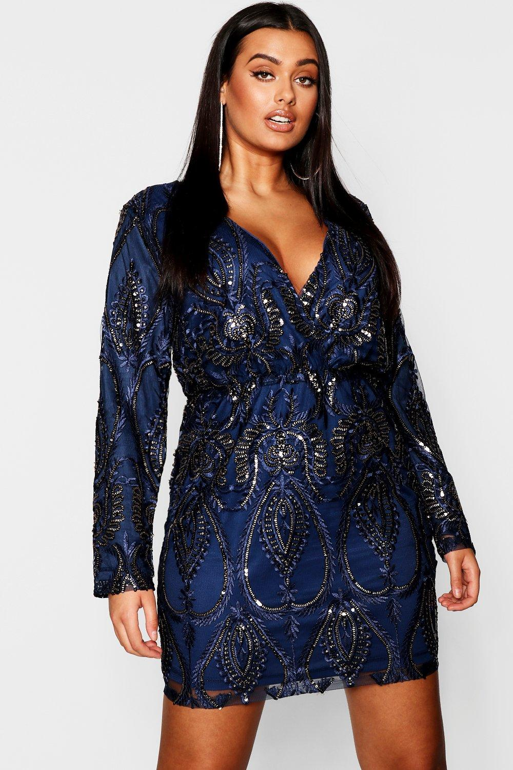 boohoo Womens Plus Lace & Sequin Plunge Mini Dress - Navy - 20, Navy