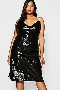 Plus Sequin Plunge Midi Slip Dress