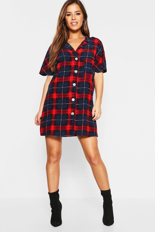 Купить со скидкой Petite Check Shirt Dress