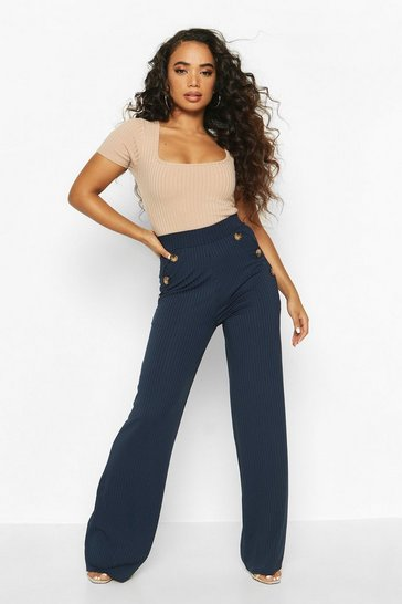 Navy Petite Mock Horn Button Rib Wide Leg Trousers
