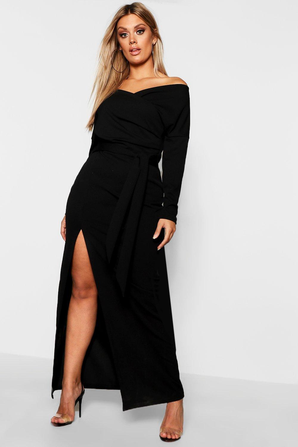 boohoo Womens Plus Off The Shoulder Wrap Dress - Black - 20, Black