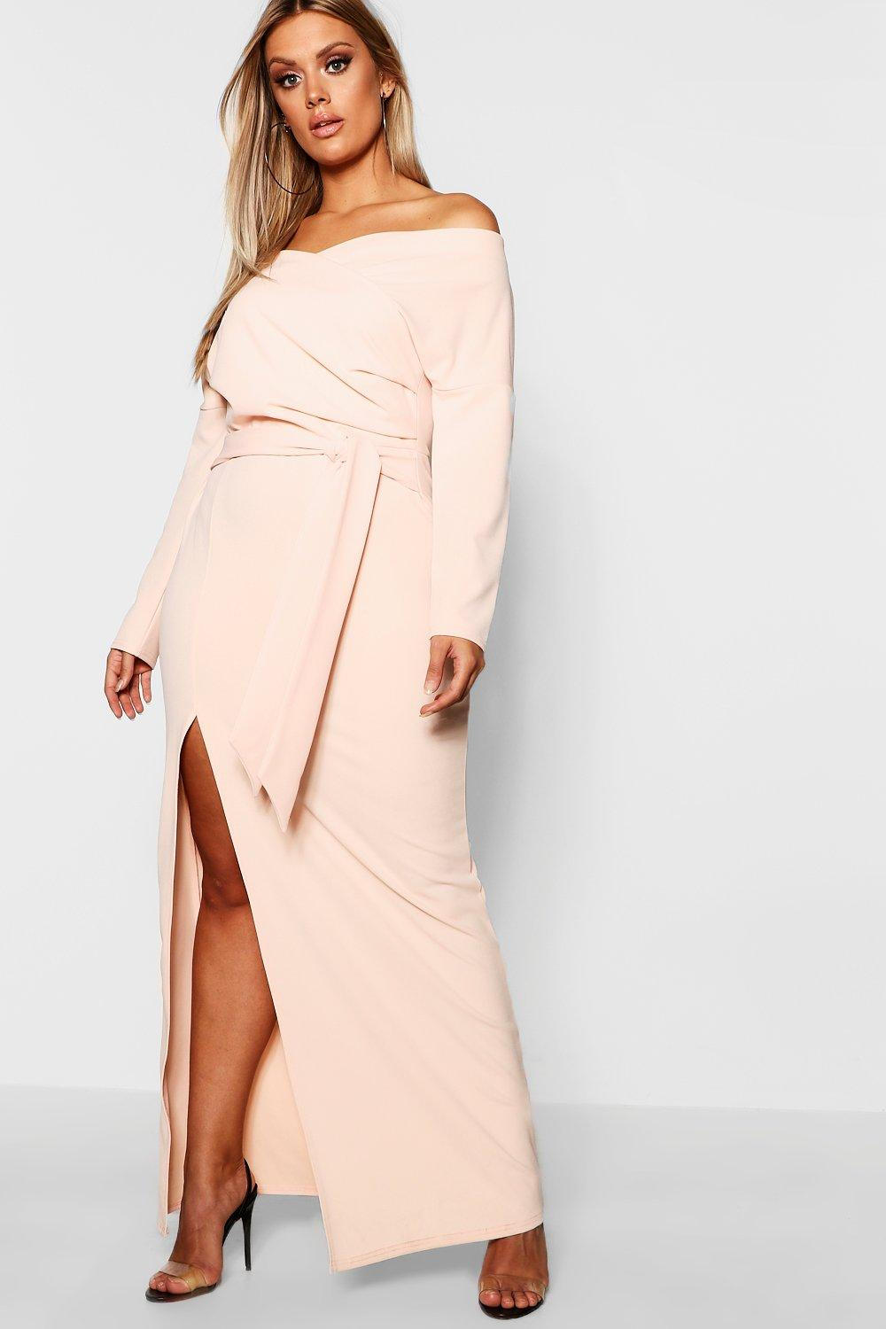 boohoo Womens Plus Off The Shoulder Wrap Dress - Beige - 18, Beige