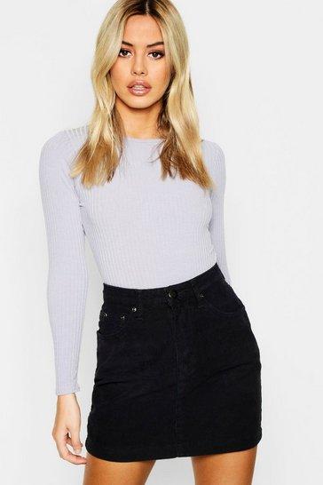 Black Petite Cord Mini Skirt