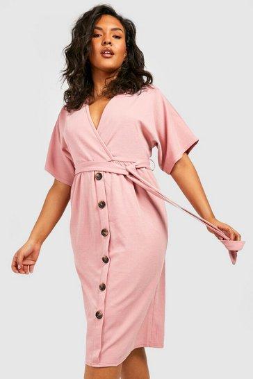 Blush Plus Belted Button Down Midi Dress