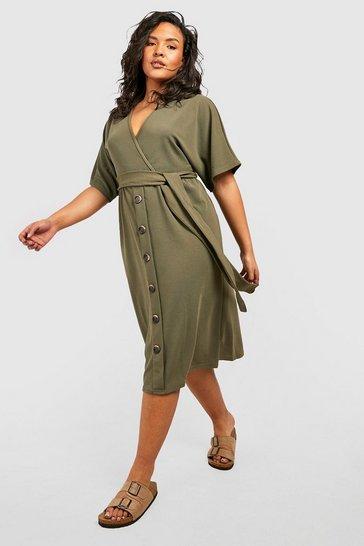 Khaki Plus Belted Button Down Midi Dress