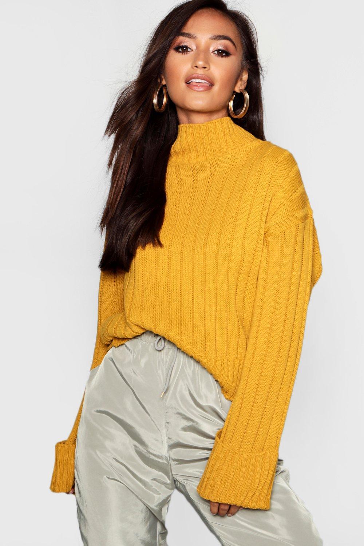 Womens Petite Hochgeschlossener Pullover aus Rippstrick - senfgelb - M/L, Senfgelb - Boohoo.com